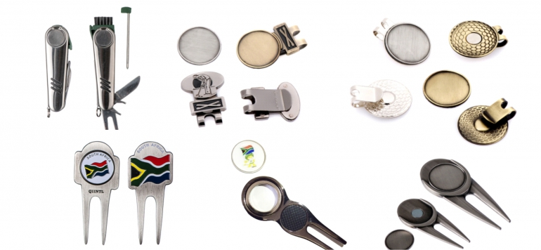 Divot tools, cap clips and ball markers